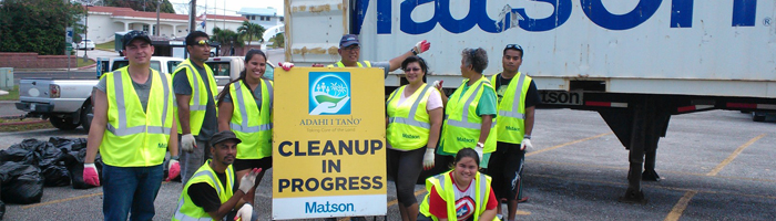 Volunteers for Matson's Adahi I Tano' clean up program.