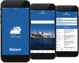 Track My Container app shown on mobile phone.