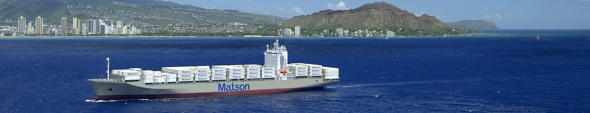 Matson containership arriving Honolulu, Hawaii with containers.