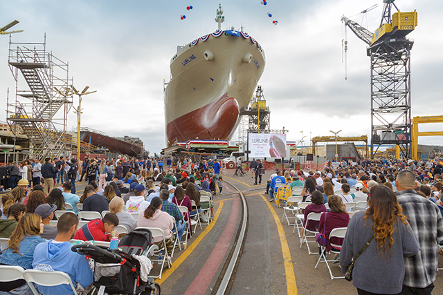 Audience watches Lurline launch and christening at NASSCO San Diego