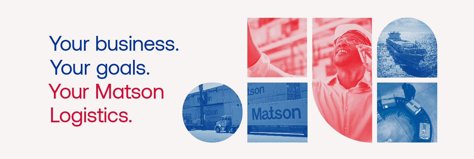 Matson Logistics banner showing services: ocean, warehouse, highway
