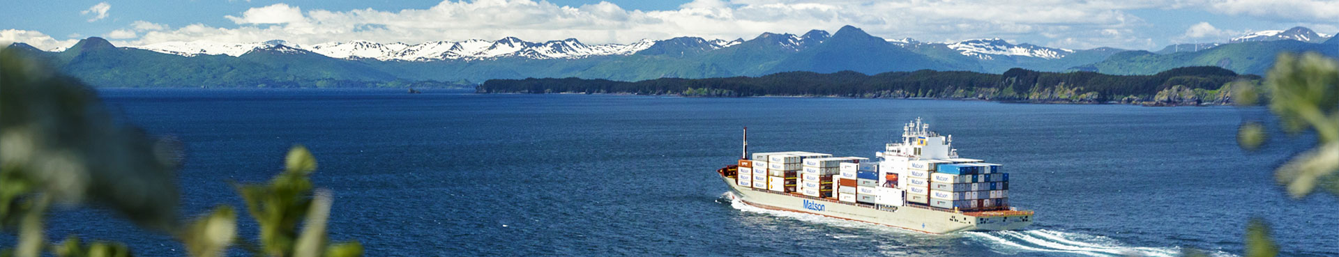 A Matson ship full of containers sails in the Alaska service.