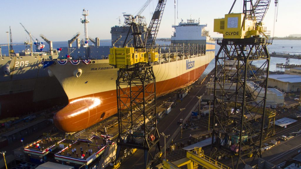 Matsonia at NASSCO in San Diego ready to be christened
