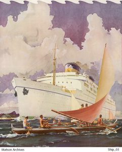 Lurline cruise ship greeted by outriggers is part of the Matson Vintage Art collection.