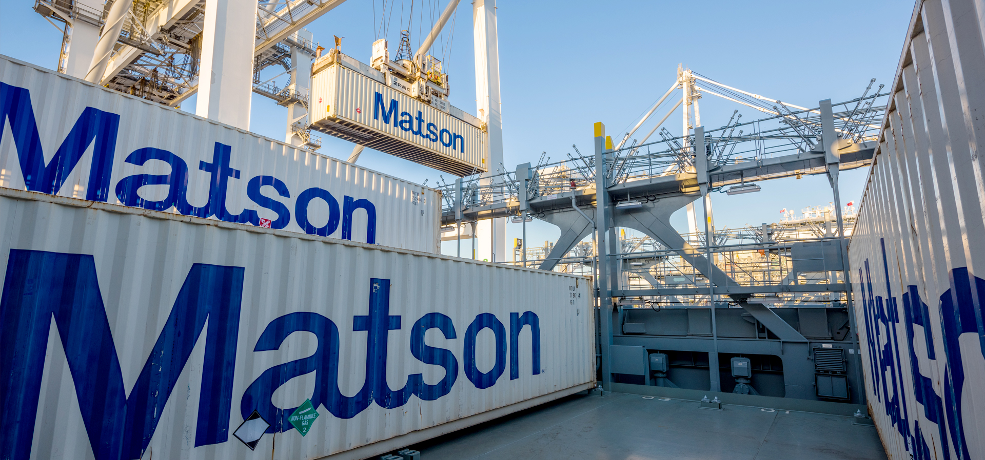 Crane offloads Matson containers
