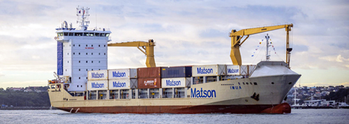Imua loaded with Matson containers